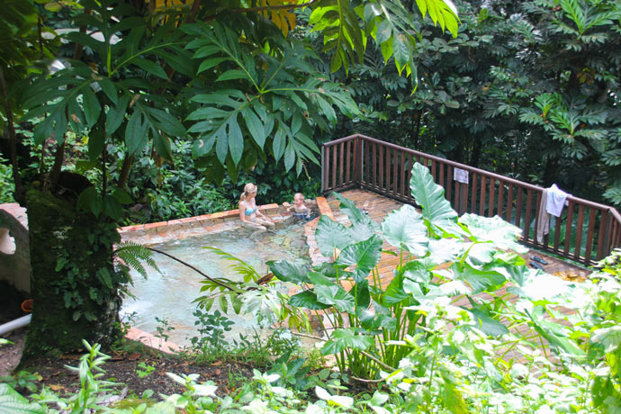 Guadeloupe jungle hot springs pool