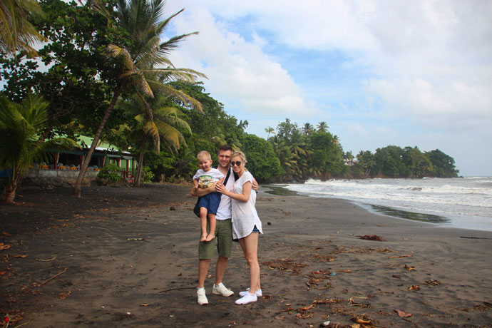 Guadeloupe volcanic black beach