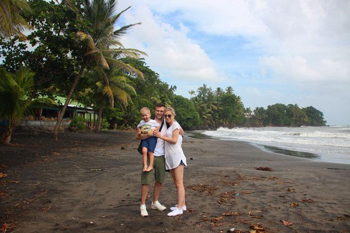 Guadeloupe volcanic black beach