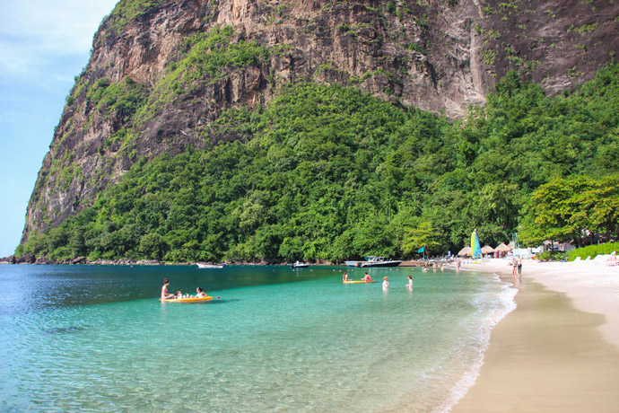 Best beach in St Lucia for view of the Pitons