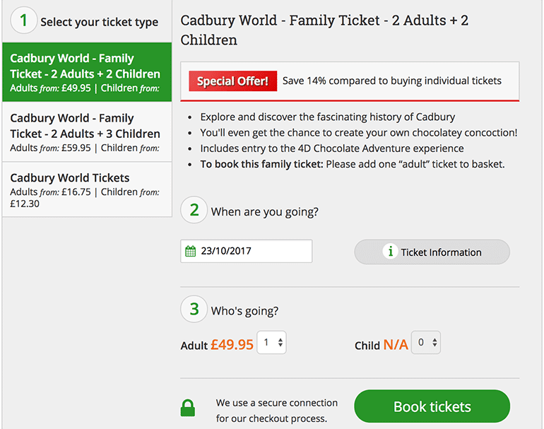 Cadbury world deal in school holidays