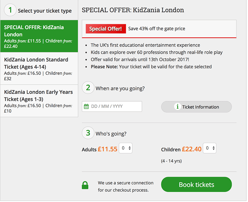 Kidzania London discount tickets deal school holidays
