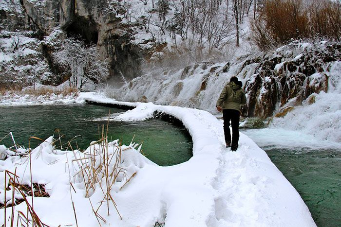 Plitvice National Park winter covered in snow