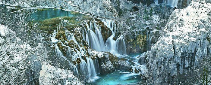 Plitvice National Park winter waterfall Croatia