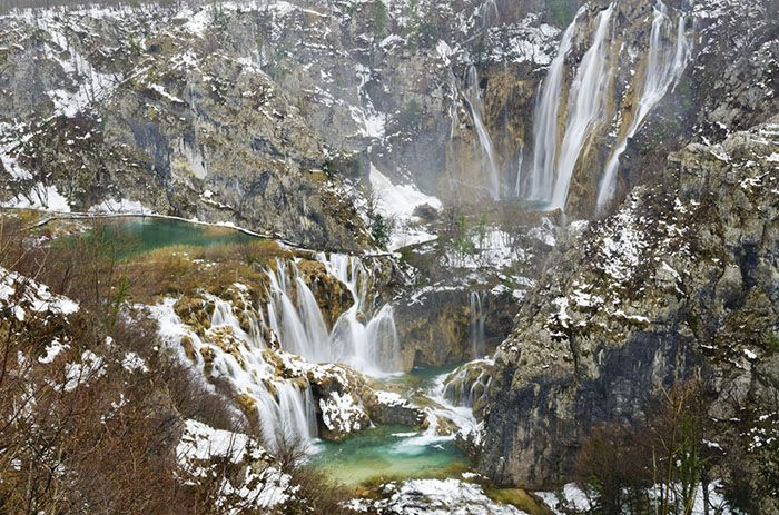 Plitvice National Park winter waterfall viewpoint