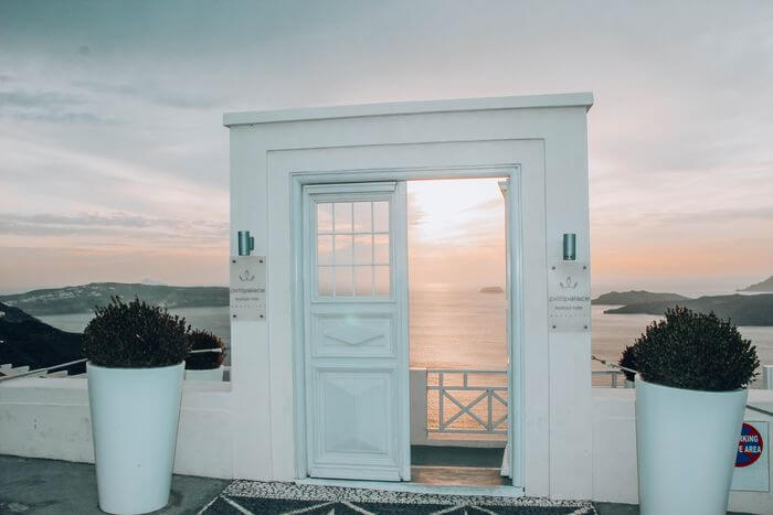 Santorini doors with volcano views - family guide to Santorini with a toddler