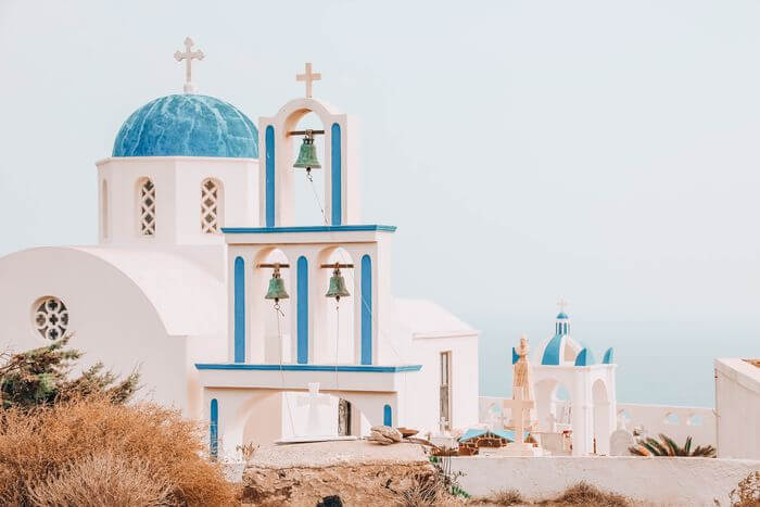 best blue churches in Santorini with kids
