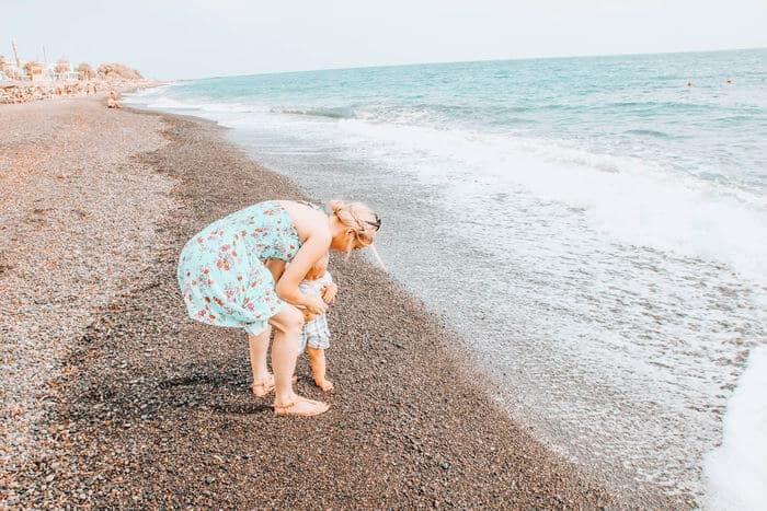 best beaches in Santorini with a toddler - Perissa Beach