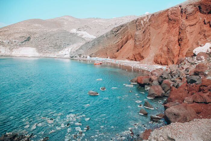 best beaches in Santorini with a toddler - Red Beach