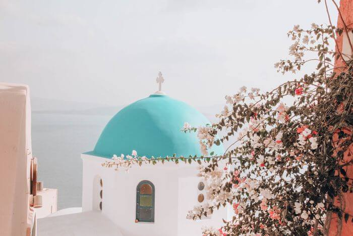 Blue dome roof in Santorini Oia