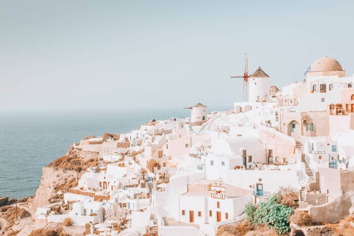 Oia with a toddler Santorini windmill viewpoint
