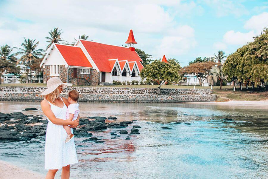 instagrammable places in Mauritius - Cap Malheureux red church